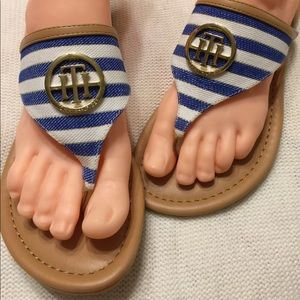 Tommy Hilfiger Blue White Nautical Striped Sandals